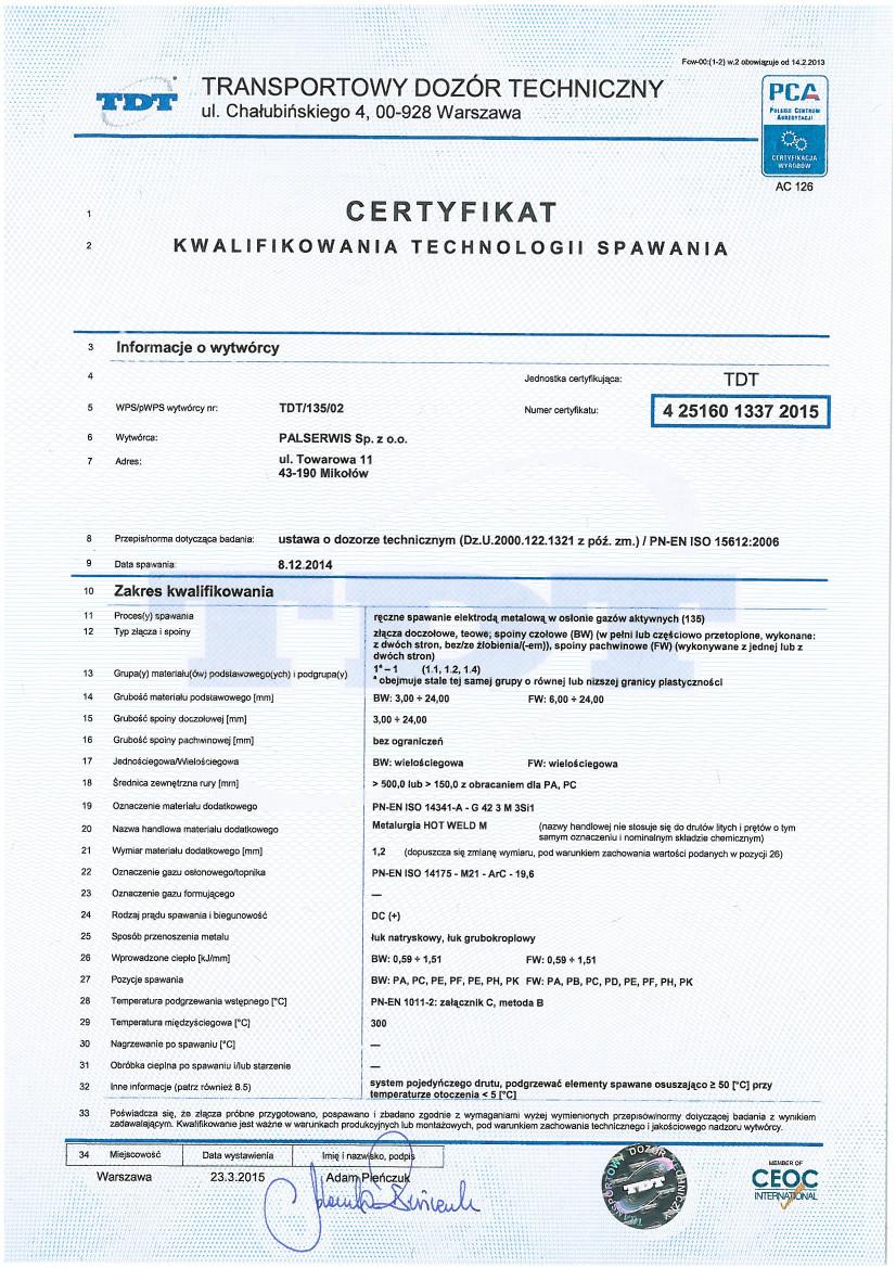 Certyfikat technologii spawania 2015