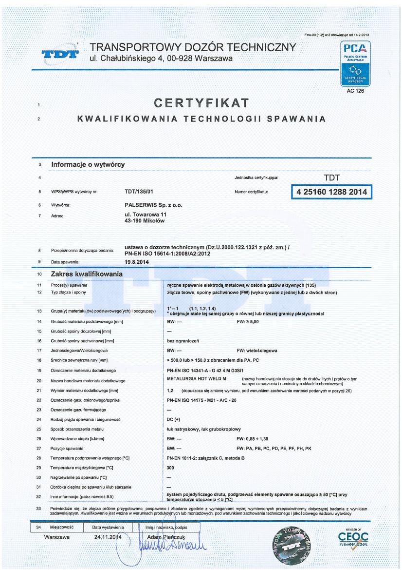Certyfikat technologii spawania 2014